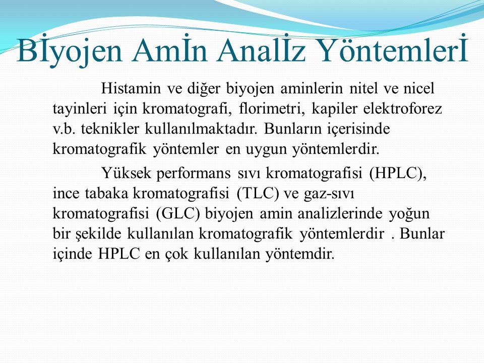 Bİyojen Amİn Analİz Yöntemlerİ Histamin ve diğer biyojen aminlerin nitel ve nicel tayinleri için kromatografi, florimetri, kapiler elektroforez v.b.