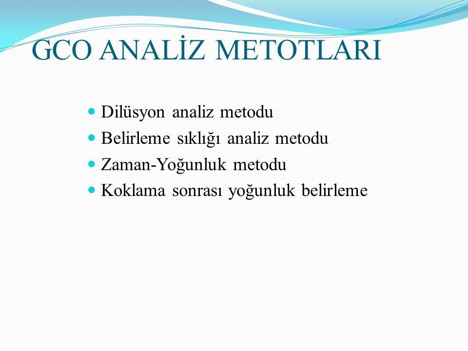 GCO ANALİZ METOTLARI Dilüsyon analiz metodu Belirleme sıklığı analiz metodu Zaman-Yoğunluk metodu Koklama sonrası yoğunluk belirleme