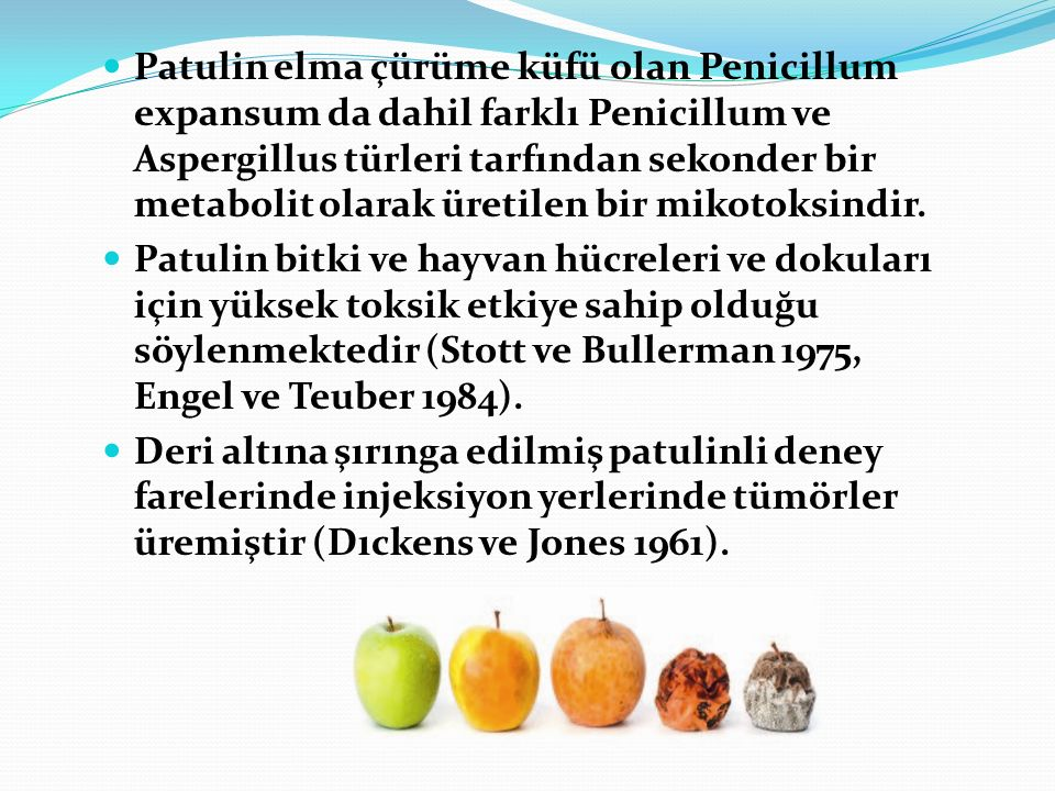 Patulin elma çürüme küfü olan Penicillum expansum da dahil farklı Penicillum ve Aspergillus türleri tarfından sekonder bir metabolit olarak üretilen bir mikotoksindir.