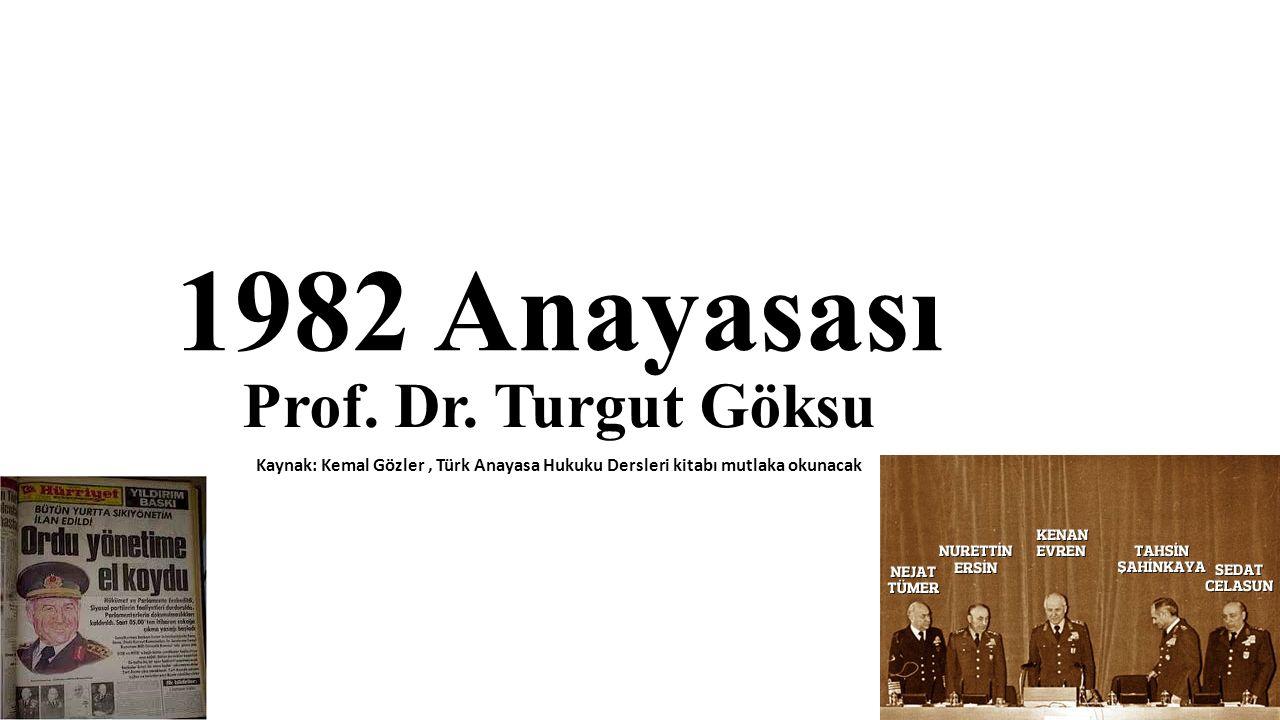12 Eylül 1980 Askeri Müdahalesi 1982 Anayasası 12 Eylül 1980 Askeri Müdahalesinin ürünüdür.