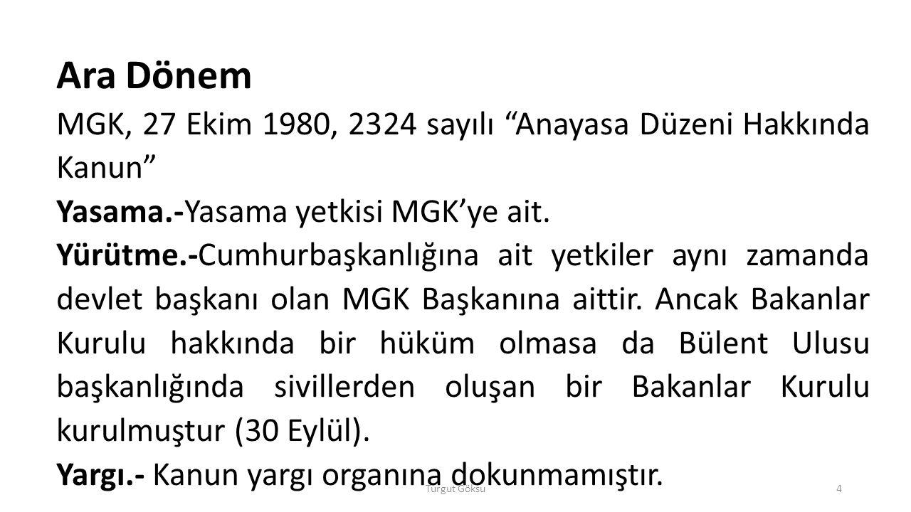 Ara Dönem MGK, 27 Ekim 1980, 2324 sayılı Anayasa Düzeni Hakkında Kanun Yasama.-Yasama yetkisi MGK'ye ait.