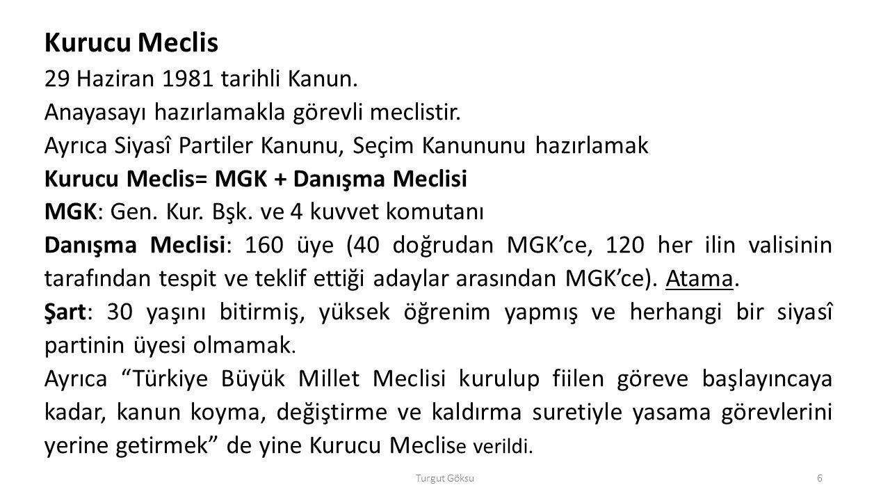 Turgut Göksu37 Hukuk devletinin istisnaları: 1.Cumhurbaşkanının tek başına yapacağı işlemler (AY m.105/2 ve 125/2).