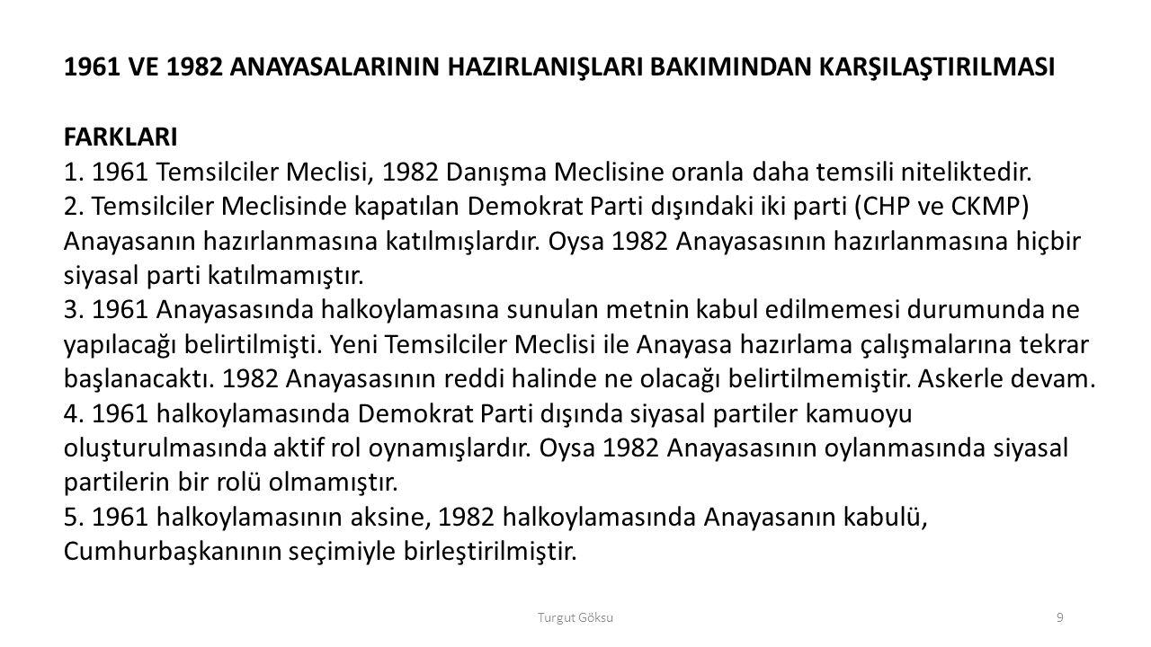 Turgut Göksu40 1982 Anayasası eşitlik ilkesini, temel haklar ve ödevler kısmına değil, genel esaslar kısmına yerleştirmiştir.