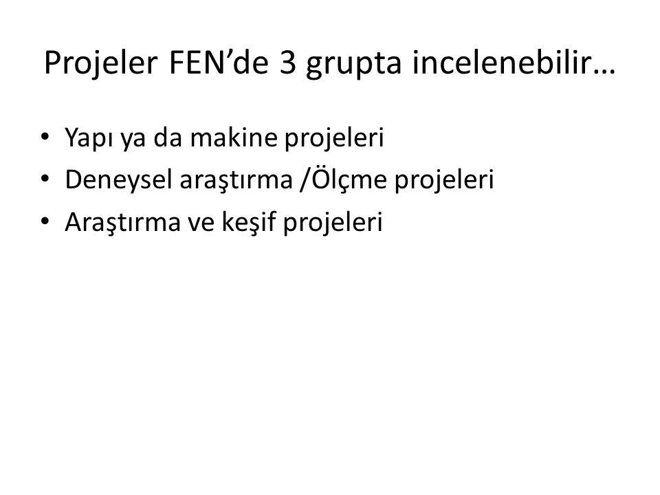 Projeler FEN'de 3 grupta incelenebilir… Yapı ya da makine projeleri Deneysel araştırma /Ölçme projeleri Araştırma ve keşif projeleri