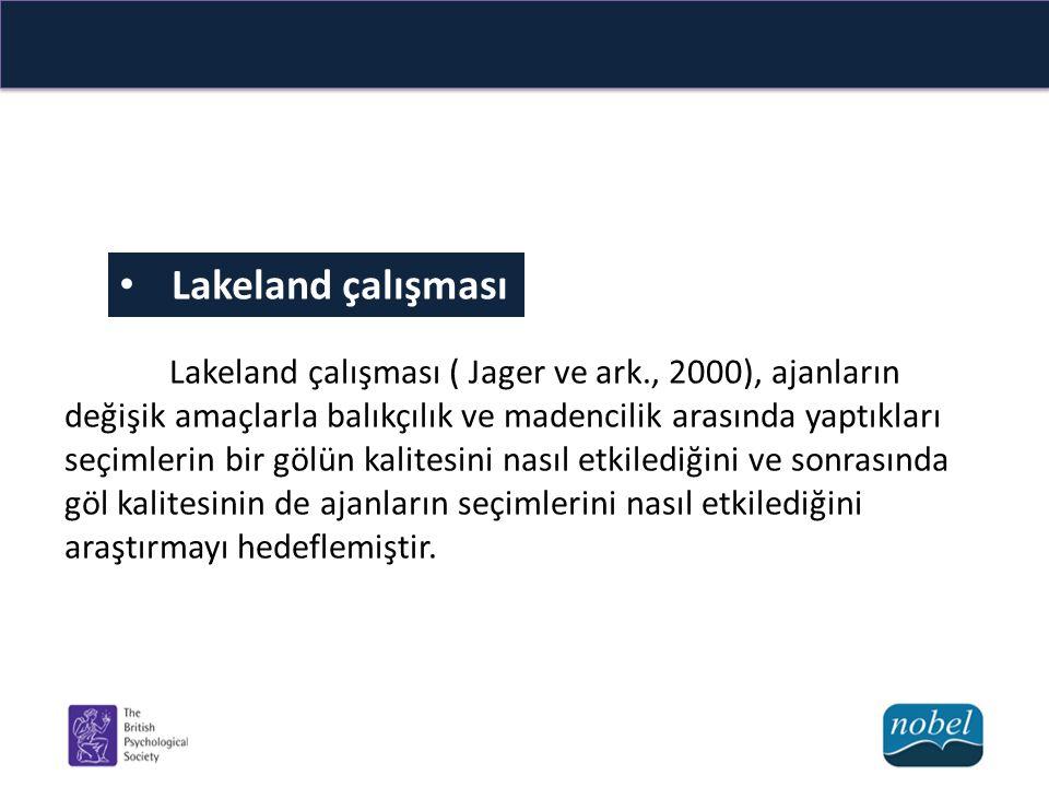 Lakeland çalışması Lakeland çalışması ( Jager ve ark., 2000), ajanların değişik amaçlarla balıkçılık ve madencilik arasında yaptıkları seçimlerin bir gölün kalitesini nasıl etkilediğini ve sonrasında göl kalitesinin de ajanların seçimlerini nasıl etkilediğini araştırmayı hedeflemiştir.