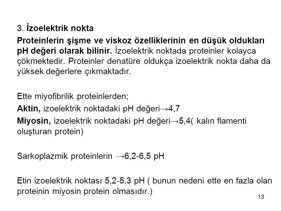 3. İzoelektrik nokta Proteinlerin şişme ve viskoz özelliklerinin en düşük oldukları pH değeri olarak bilinir. İzoelektrik noktada proteinler kolayca ç