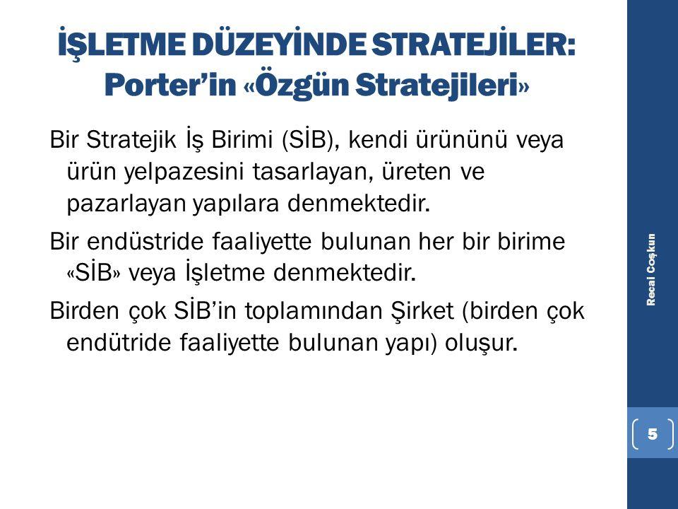 İŞLETME DÜZEYİNDE STRATEJİLER: Porter'in «Özgün Stratejileri» Bir Stratejik İş Birimi (SİB), kendi ürününü veya ürün yelpazesini tasarlayan, üreten ve