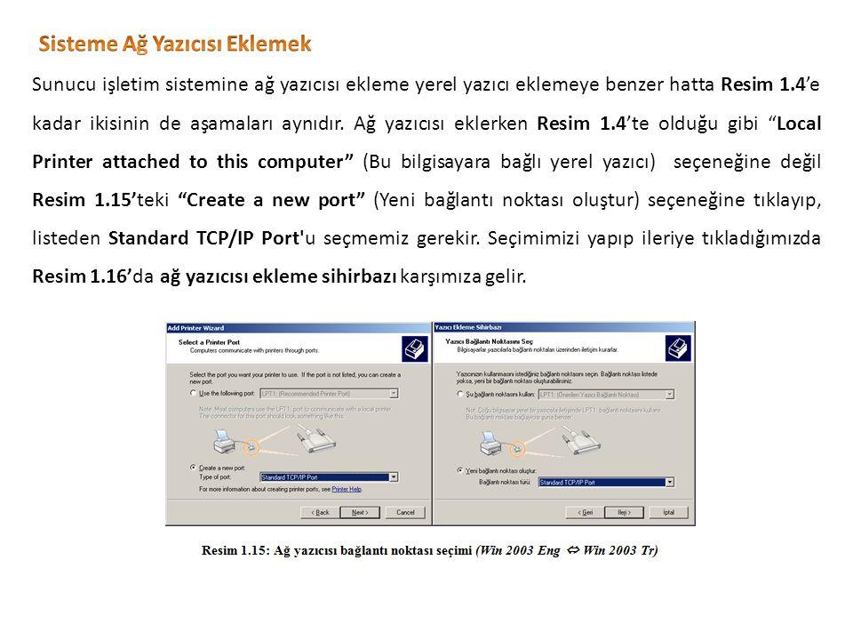 Sunucu işletim sistemine ağ yazıcısı ekleme yerel yazıcı eklemeye benzer hatta Resim 1.4'e kadar ikisinin de aşamaları aynıdır.