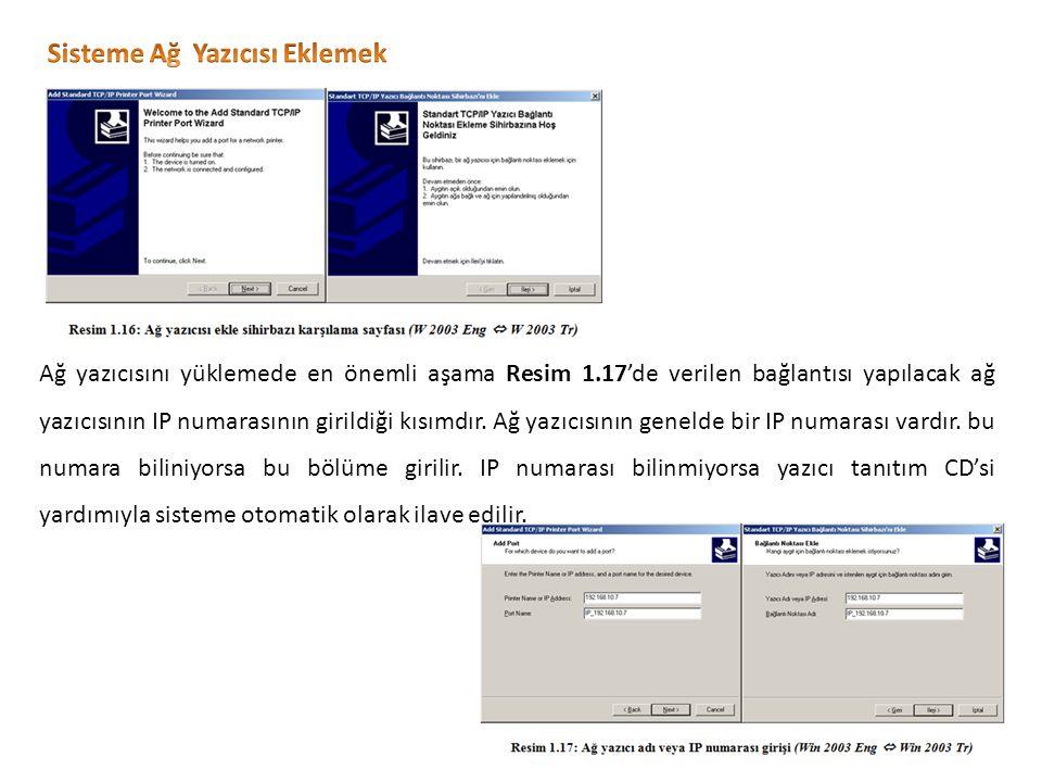 Ağ yazıcısını yüklemede en önemli aşama Resim 1.17'de verilen bağlantısı yapılacak ağ yazıcısının IP numarasının girildiği kısımdır.
