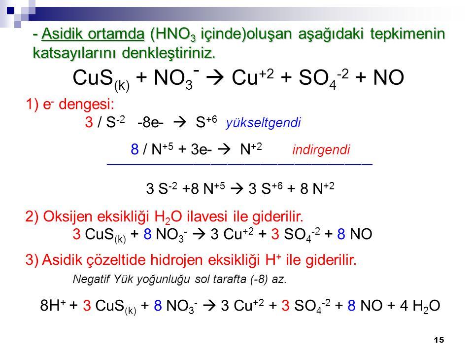 15 1) e - dengesi: 3 / S -2 -8e-  S +6 yükseltgendi 8 / N +5 + 3e-  N +2 indirgendi ________________________________________________ 3 S -2 +8 N +5  3 S +6 + 8 N +2 2) Oksijen eksikliği H 2 O ilavesi ile giderilir.