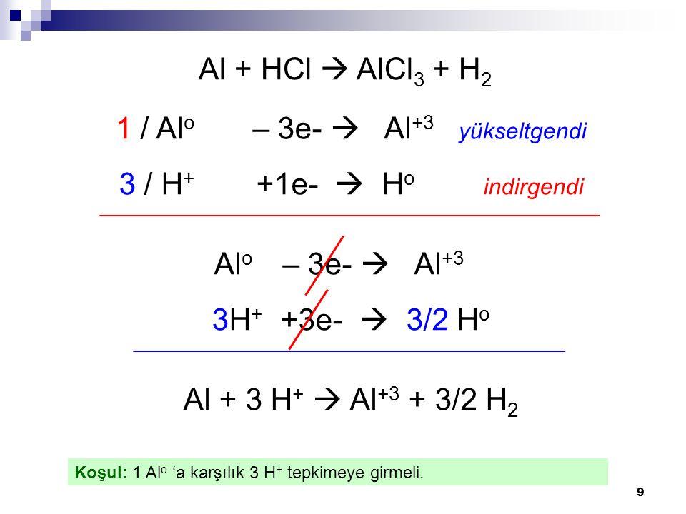 9 Al + HCl  AlCl 3 + H 2 1 / Al o – 3e-  Al +3 yükseltgendi 3 / H + +1e-  H o indirgendi ____________________________________________ Al o – 3e-  Al +3 3H + +3e-  3/2 H o ______________________________________ Al + 3 H +  Al +3 + 3/2 H 2 Koşul: 1 Al o 'a karşılık 3 H + tepkimeye girmeli.