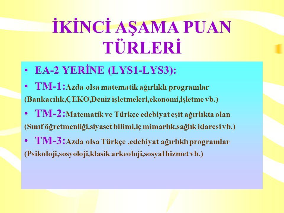İKİNCİ AŞAMA PUAN TÜRLERİ EA-2 YERİNE (LYS1-LYS3): TM-1: Azda olsa matematik ağırlıklı programlar (Bankacılık,ÇEKO,Deniz işletmeleri,ekonomi,işletme vb.) TM-2: Matematik ve Türkçe edebiyat eşit ağırlıkta olan (Sınıf öğretmenliği,siyaset bilimi,iç mimarlık,sağlık idaresi vb.) TM-3: Azda olsa Türkçe,edebiyat ağırlıklı programlar (Psikoloji,sosyoloji,klasik arkeoloji,sosyal hizmet vb.)