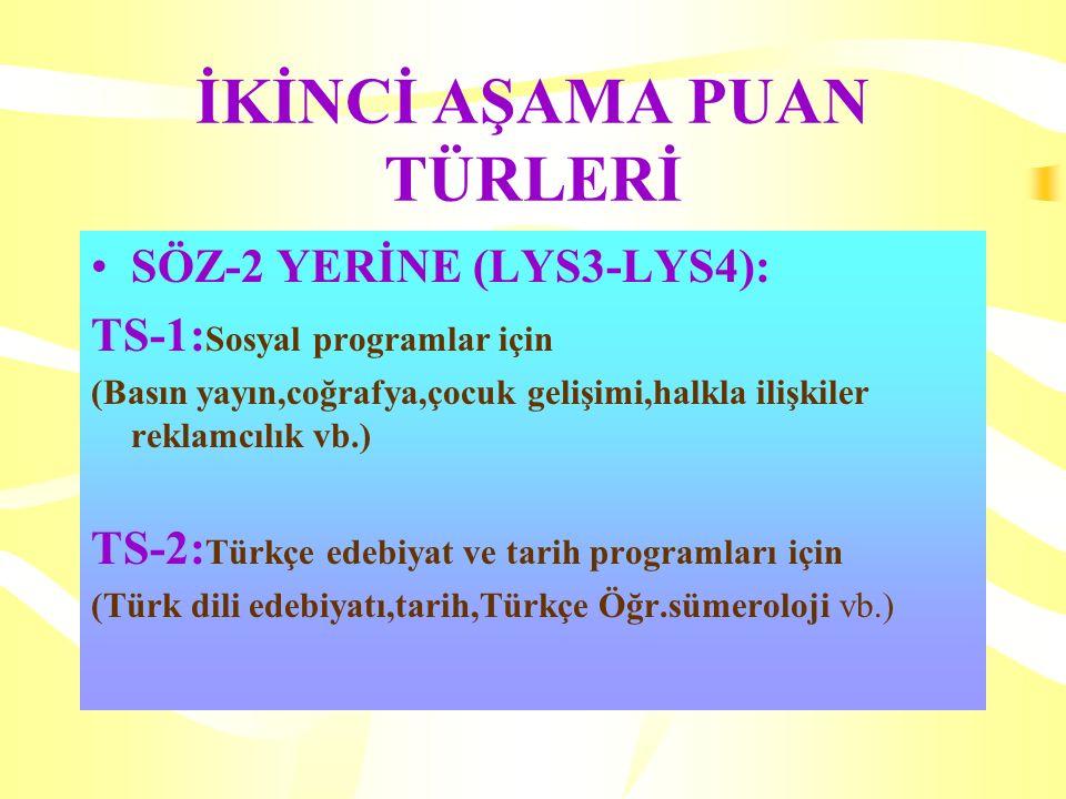 İKİNCİ AŞAMA PUAN TÜRLERİ SÖZ-2 YERİNE (LYS3-LYS4): TS-1: Sosyal programlar için (Basın yayın,coğrafya,çocuk gelişimi,halkla ilişkiler reklamcılık vb.