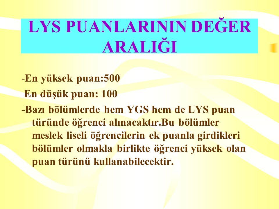 LYS PUANLARININ DEĞER ARALIĞI -En yüksek puan:500 En düşük puan: 100 -Bazı bölümlerde hem YGS hem de LYS puan türünde öğrenci alınacaktır.Bu bölümler