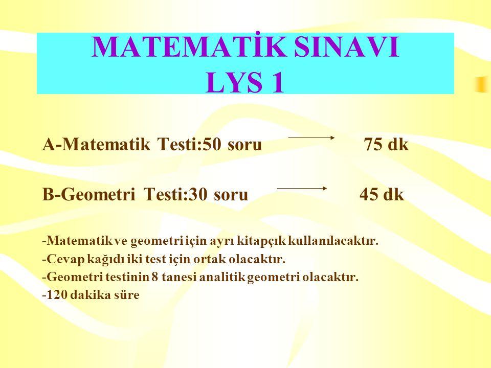 MATEMATİK SINAVI LYS 1 A-Matematik Testi:50 soru 75 dk B-Geometri Testi:30 soru 45 dk -Matematik ve geometri için ayrı kitapçık kullanılacaktır. -Ceva