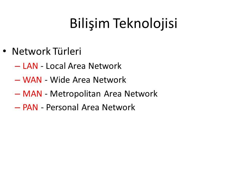 Bilişim Teknolojisi Network Türleri – LAN - Local Area Network – WAN - Wide Area Network – MAN - Metropolitan Area Network – PAN - Personal Area Network