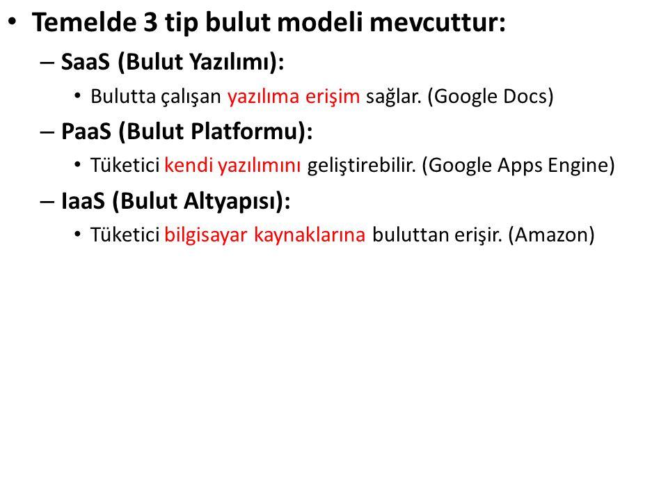Temelde 3 tip bulut modeli mevcuttur: – SaaS (Bulut Yazılımı): Bulutta çalışan yazılıma erişim sağlar. (Google Docs) – PaaS (Bulut Platformu): Tü
