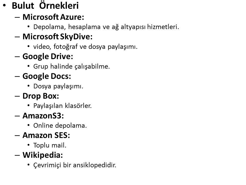 Bulut Örnekleri – Microsoft Azure: Depolama, hesaplama ve ağ altyapısı hizmetleri. – Microsoft SkyDive: video, fotoğraf ve dosya paylaşımı. – Googl