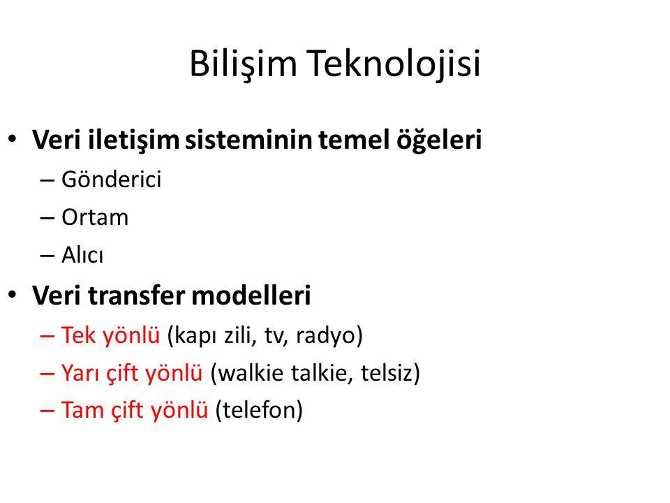 Bilişim Teknolojisi Veri iletişim sisteminin temel öğeleri – Gönderici – Ortam – Alıcı Veri transfer modelleri – Tek yönlü (kapı zili, tv, radyo) – Ya