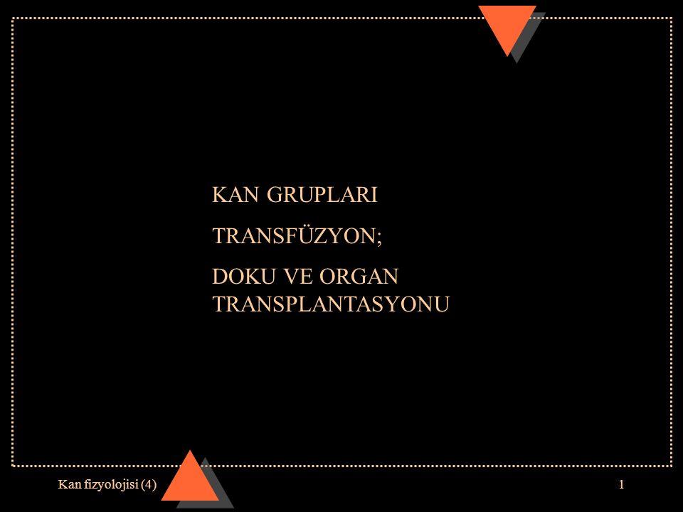 Kan fizyolojisi (4)1 KAN GRUPLARI TRANSFÜZYON; DOKU VE ORGAN TRANSPLANTASYONU