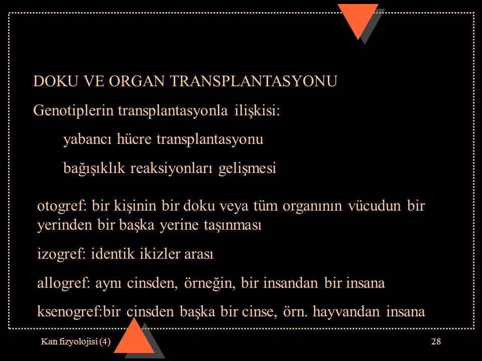 Kan fizyolojisi (4)28 DOKU VE ORGAN TRANSPLANTASYONU Genotiplerin transplantasyonla ilişkisi: yabancı hücre transplantasyonu bağışıklık reaksiyonları