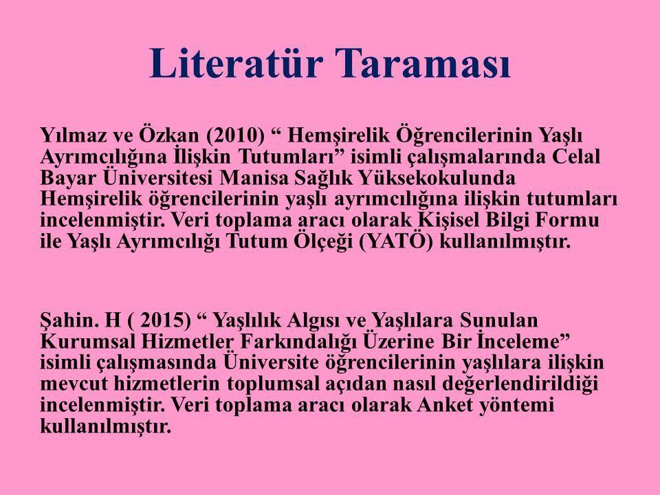 """Literatür Taraması Yılmaz ve Özkan (2010) """" Hemşirelik Öğrencilerinin Yaşlı Ayrımcılığına İlişkin Tutumları"""" isimli çalışmalarında Celal Bayar Ünivers"""