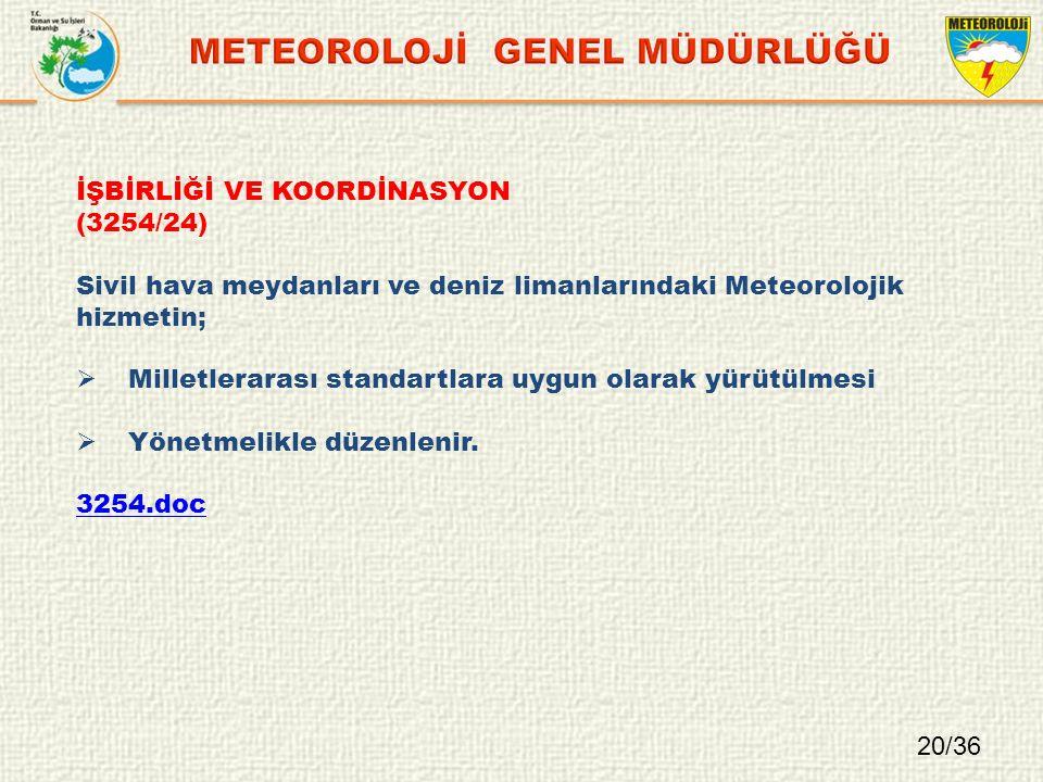 İŞBİRLİĞİ VE KOORDİNASYON (3254/24) Sivil hava meydanları ve deniz limanlarındaki Meteorolojik hizmetin;  Milletlerarası standartlara uygun olarak yürütülmesi  Yönetmelikle düzenlenir.