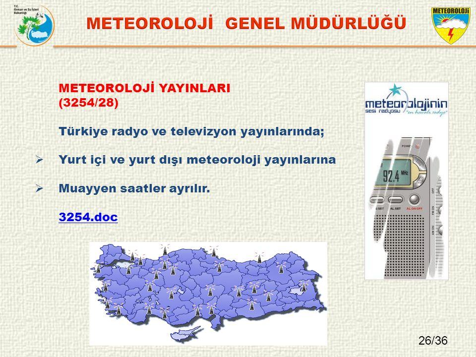 METEOROLOJİ YAYINLARI (3254/28) Türkiye radyo ve televizyon yayınlarında;  Yurt içi ve yurt dışı meteoroloji yayınlarına  Muayyen saatler ayrılır.
