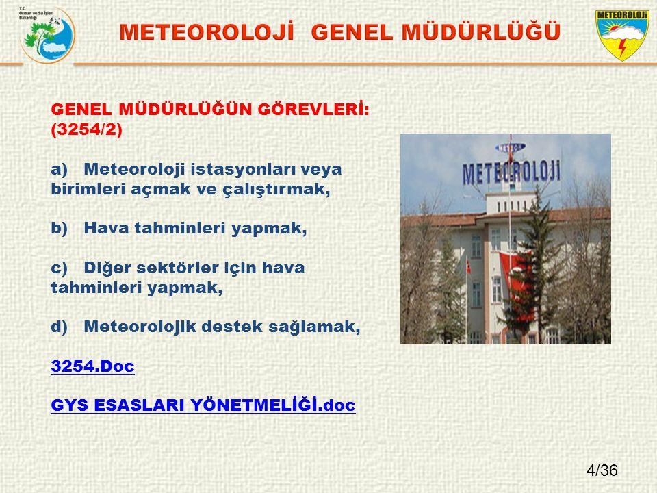 4/36 GENEL MÜDÜRLÜĞÜN GÖREVLERİ: (3254/2) a)Meteoroloji istasyonları veya birimleri açmak ve çalıştırmak, b)Hava tahminleri yapmak, c)Diğer sektörler için hava tahminleri yapmak, d)Meteorolojik destek sağlamak, 3254.Doc GYS ESASLARI YÖNETMELİĞİ.doc