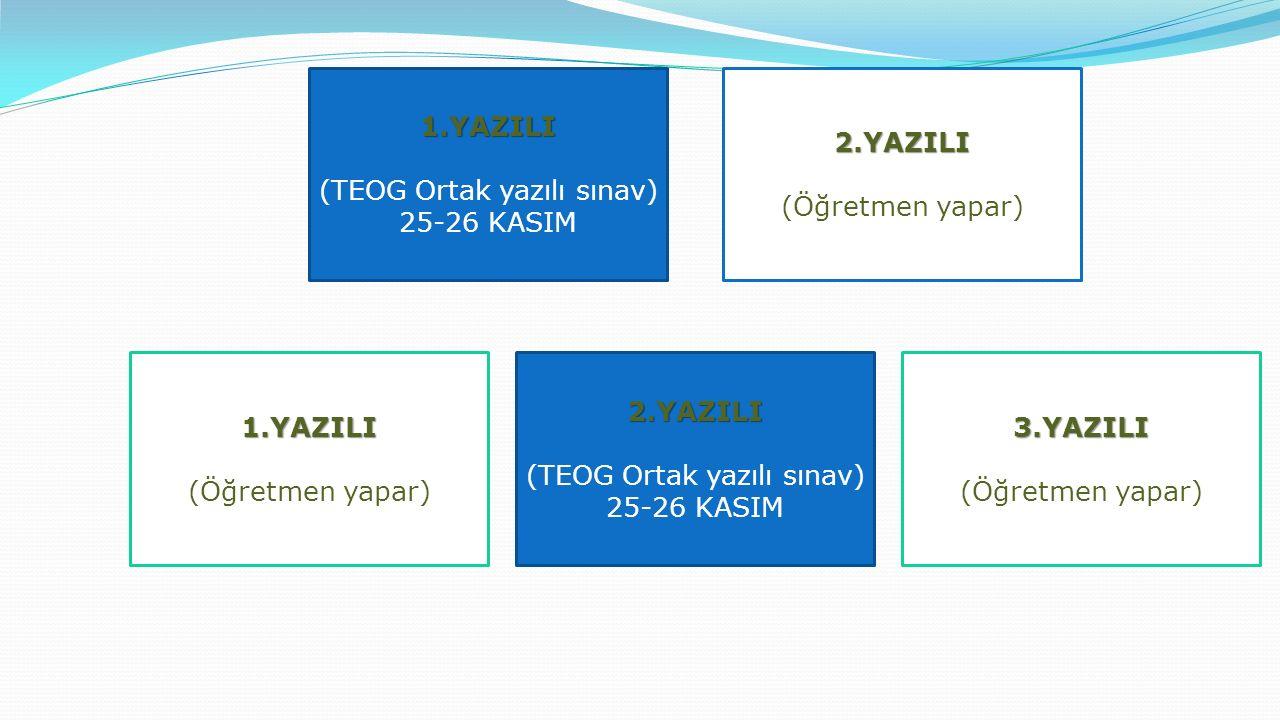 2.YAZILI 1.YAZILI (TEOG Ortak yazılı sınav) 25-26 KASIM 1.YAZILI (Öğretmen yapar)2.YAZILI (TEOG Ortak yazılı sınav) 25-26 KASIM3.YAZILI (Öğretmen yapar)