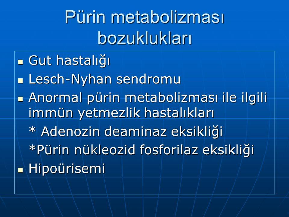 Pürin metabolizması bozuklukları Gut hastalığı Gut hastalığı Lesch-Nyhan sendromu Lesch-Nyhan sendromu Anormal pürin metabolizması ile ilgili immün yetmezlik hastalıkları Anormal pürin metabolizması ile ilgili immün yetmezlik hastalıkları * Adenozin deaminaz eksikliği *Pürin nükleozid fosforilaz eksikliği Hipoürisemi Hipoürisemi