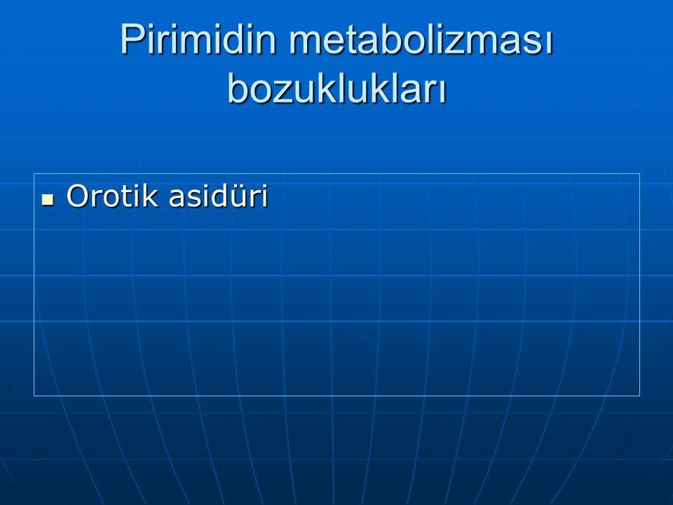 Pirimidin metabolizması bozuklukları Orotik asidüri Orotik asidüri