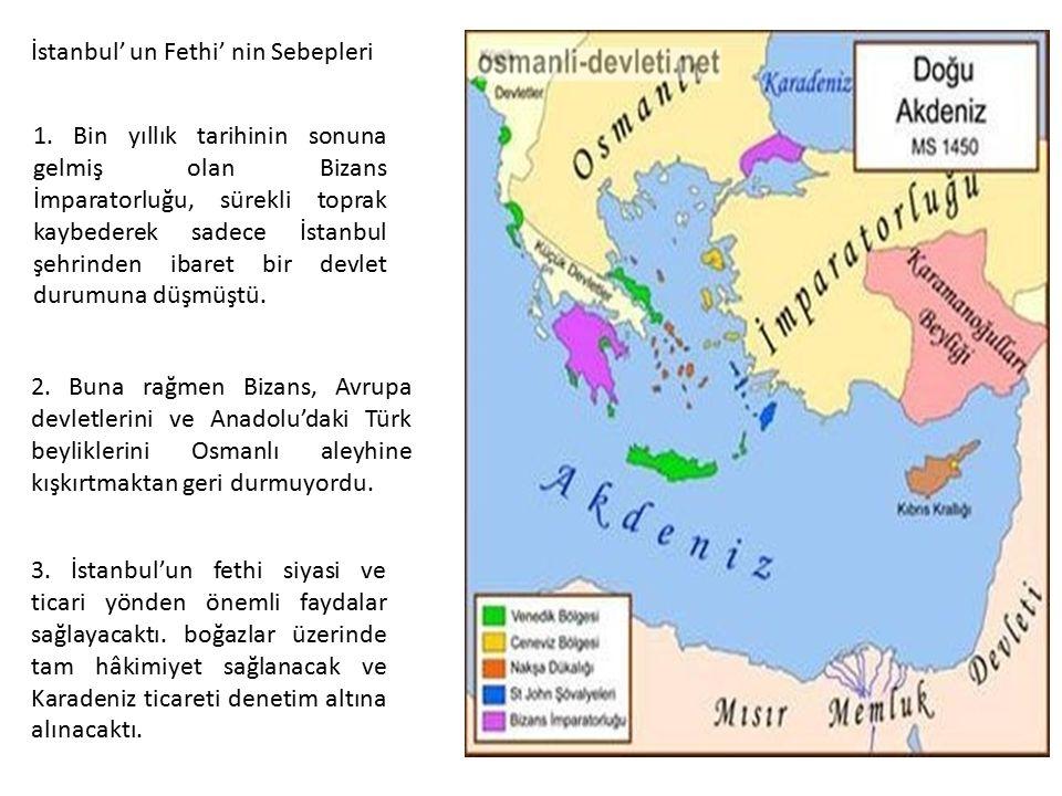 1. Bin yıllık tarihinin sonuna gelmiş olan Bizans İmparatorluğu, sürekli toprak kaybederek sadece İstanbul şehrinden ibaret bir devlet durumuna düşmüş