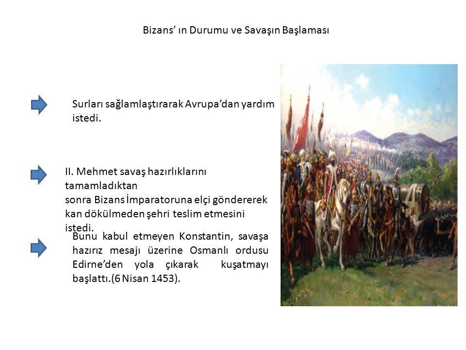 Bizans' ın Durumu ve Savaşın Başlaması Surları sağlamlaştırarak Avrupa'dan yardım istedi.