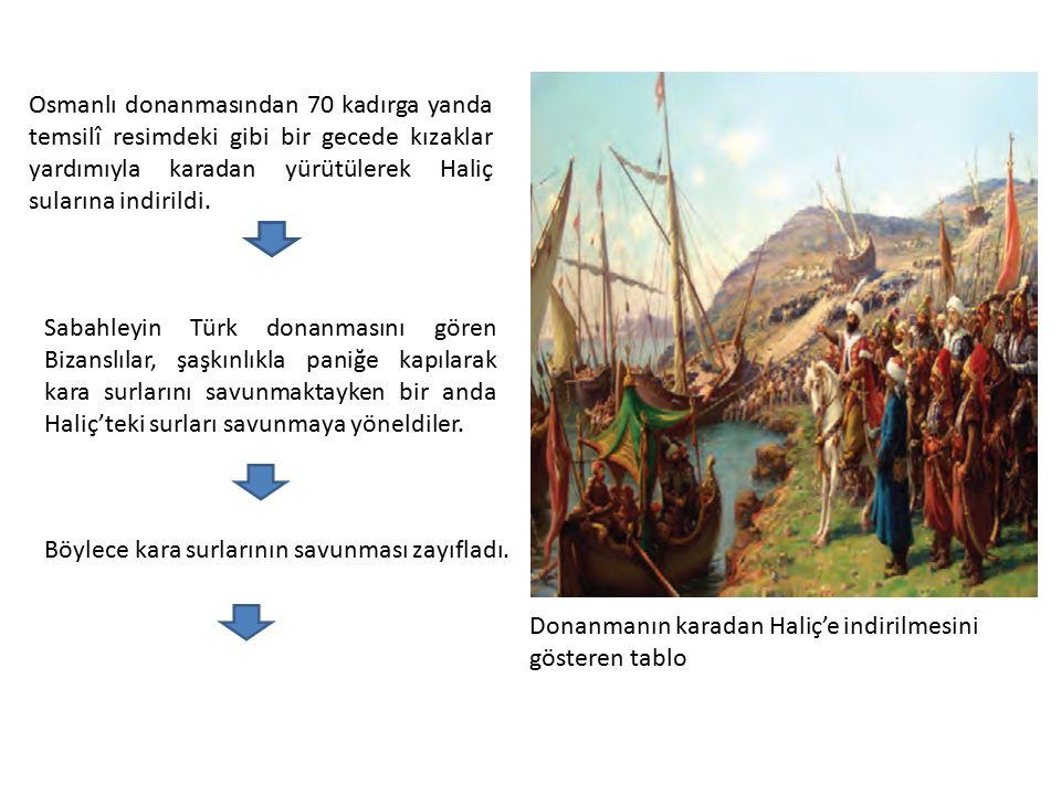 Donanmanın karadan Haliç'e indirilmesini gösteren tablo Osmanlı donanmasından 70 kadırga yanda temsilî resimdeki gibi bir gecede kızaklar yardımıyla karadan yürütülerek Haliç sularına indirildi.