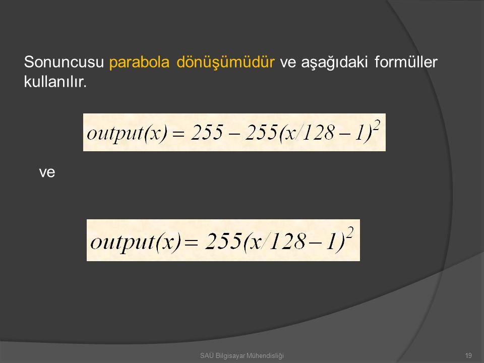 19 Sonuncusu parabola dönüşümüdür ve aşağıdaki formüller kullanılır. ve