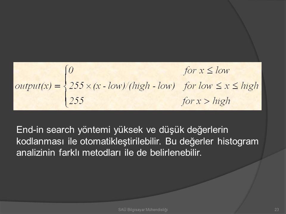 23SAÜ Bilgisayar Mühendisliği End-in search yöntemi yüksek ve düşük değerlerin kodlanması ile otomatikleştirilebilir.