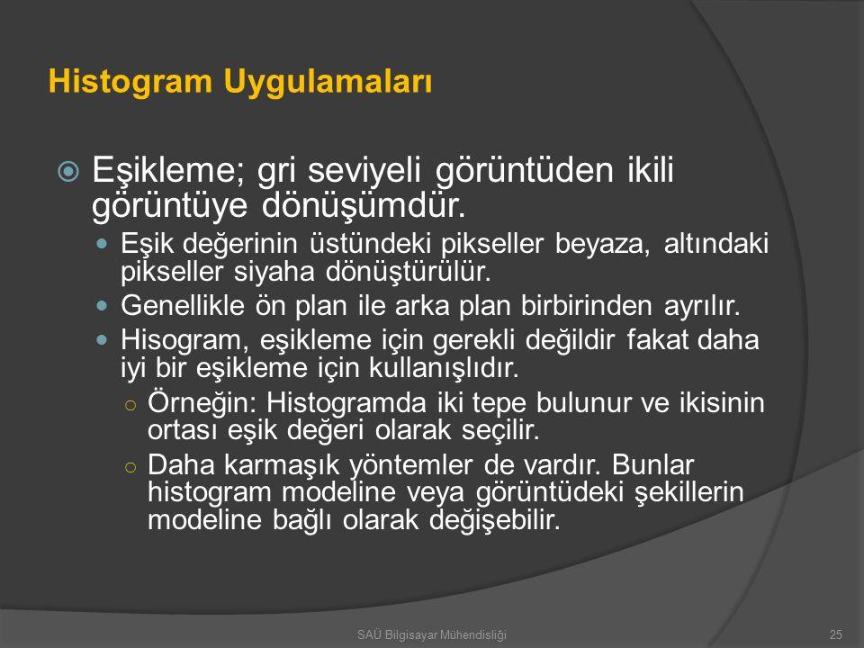 Histogram Uygulamaları  Eşikleme; gri seviyeli görüntüden ikili görüntüye dönüşümdür.