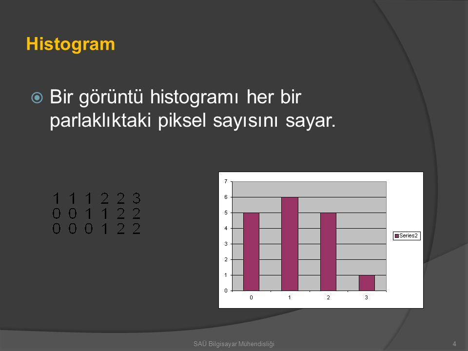 Histogram  Bir görüntü histogramı her bir parlaklıktaki piksel sayısını sayar.