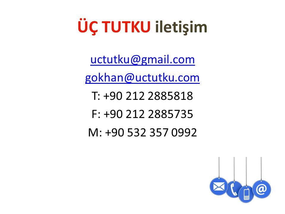 ÜÇ TUTKU iletişim uctutku@gmail.com gokhan@uctutku.com T: +90 212 2885818 F: +90 212 2885735 M: +90 532 357 0992