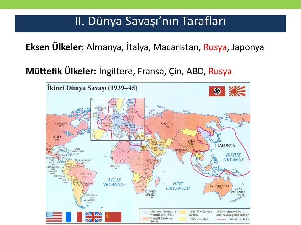 II. Dünya Savaşı'nın Tarafları Eksen Ülkeler: Almanya, İtalya, Macaristan, Rusya, Japonya Müttefik Ülkeler: İngiltere, Fransa, Çin, ABD, Rusya