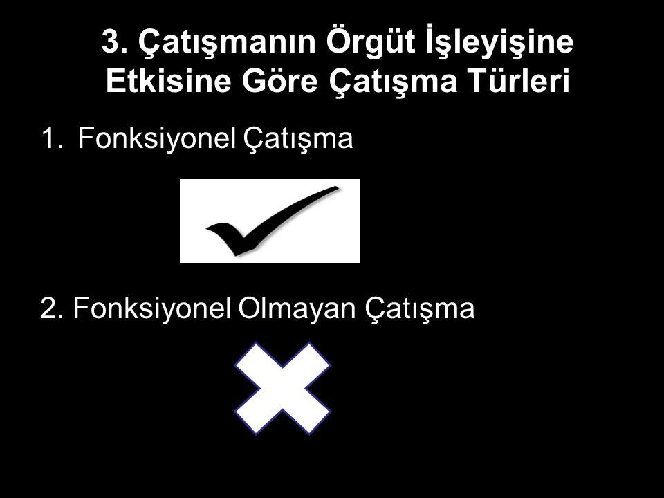 3. Çatışmanın Örgüt İşleyişine Etkisine Göre Çatışma Türleri 1.Fonksiyonel Çatışma 2. Fonksiyonel Olmayan Çatışma