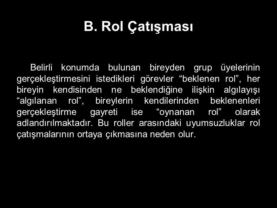 """B. Rol Çatışması Belirli konumda bulunan bireyden grup üyelerinin gerçekleştirmesini istedikleri görevler """"beklenen rol"""", her bireyin kendisinden ne b"""