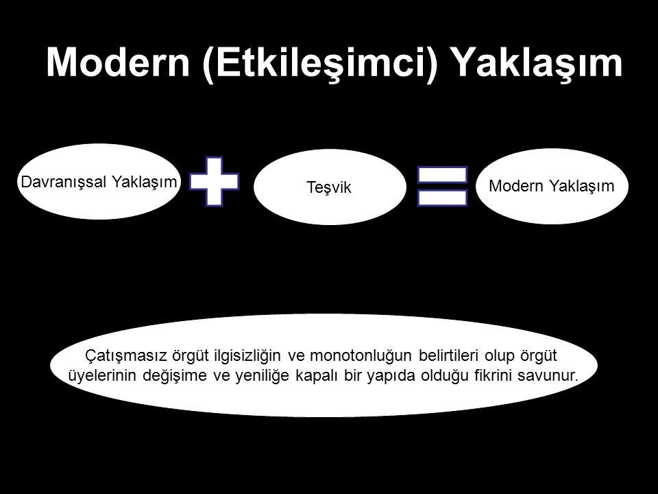 Modern (Etkileşimci) Yaklaşım Davranışsal Yaklaşım Modern Yaklaşım Teşvik Çatışmasız örgüt ilgisizliğin ve monotonluğun belirtileri olup örgüt üyeleri
