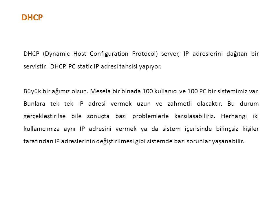 DHCP'nin dağıtmasını istediğimiz ip aralığı bu alandan belirlenir.