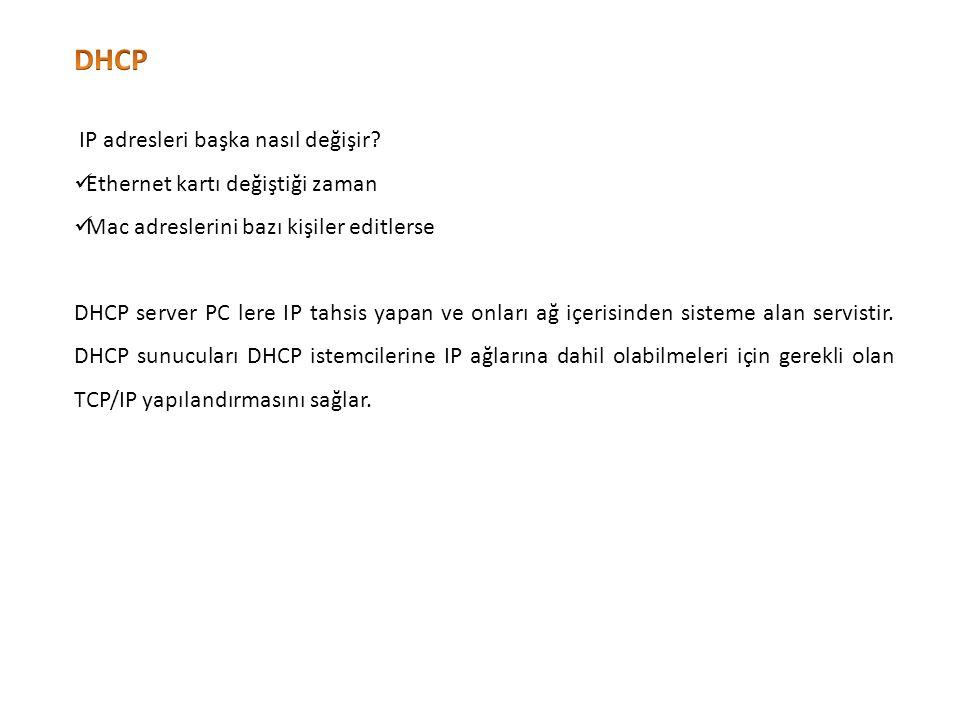 Windows Makine DHCP sunucuya ulaşamazsa; Windows istemciler DHCP sunucuya ulaşamazsa, işletim sistemi tarafından 169.254.X.Y gibi bir IP adresi atanır.