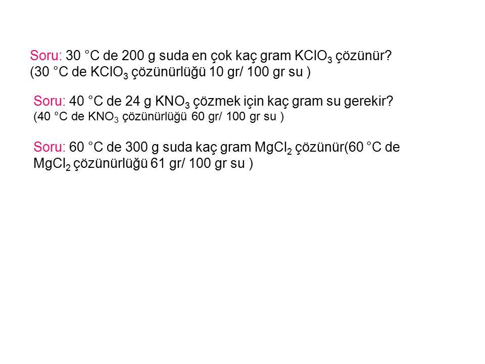 Soru: 30 °C de 200 g suda en çok kaç gram KClO 3 çözünür.