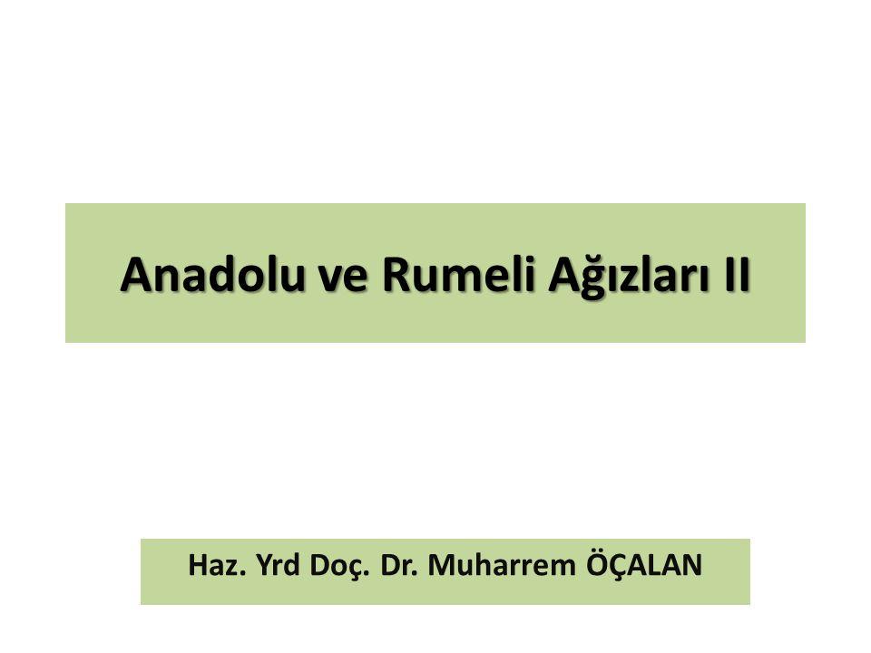 Anadolu ve Rumeli Ağızları II Haz. Yrd Doç. Dr. Muharrem ÖÇALAN