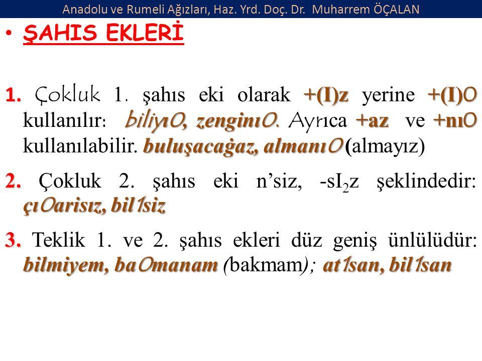 Anadolu ve Rumeli Ağızları, Haz. Yrd. Doç. Dr. Muharrem ÖÇALAN ŞAHIS EKLERİ 1.