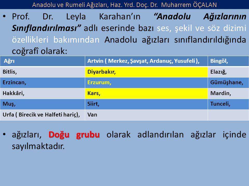 Anadolu ve Rumeli Ağızları, Haz. Yrd. Doç. Dr. Muharrem ÖÇALAN Prof.